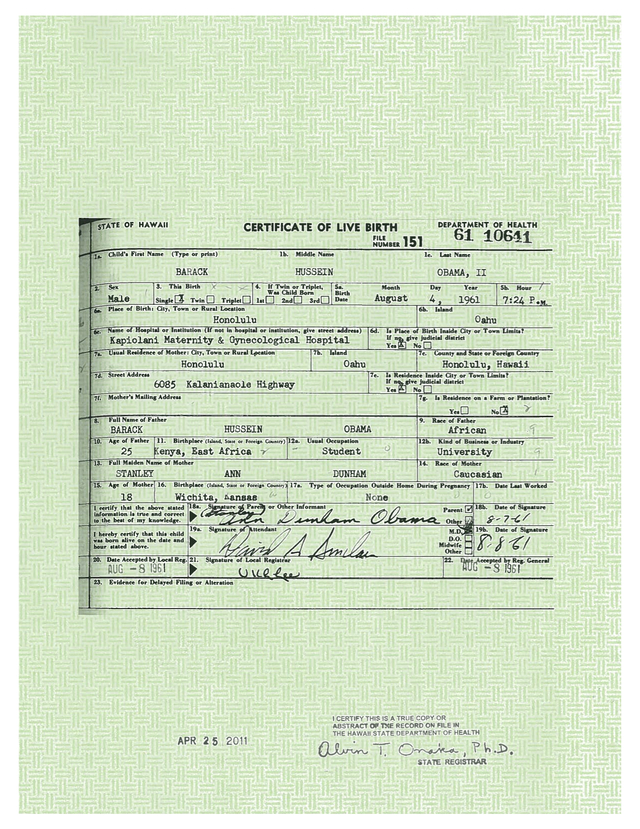 Birth certificate the obama hustle affidavit in a court case published a sworn mathematical analysis demonstrating the near zero probability that the white house birth certificate is yelopaper Image collections