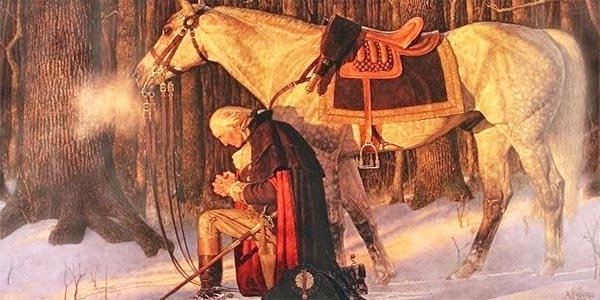 """George Washington in """"The Prayer at Valley Forge,"""" by Arnold Friberg"""