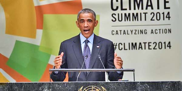 President Obama speaks at the United Nations Climate Summit on Sept. 23, 2014, in New York City