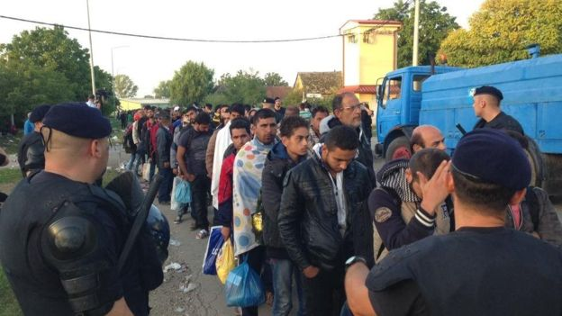Migrants in Tovarnik, Croatia, line up Friday morning for coaches to registration centers
