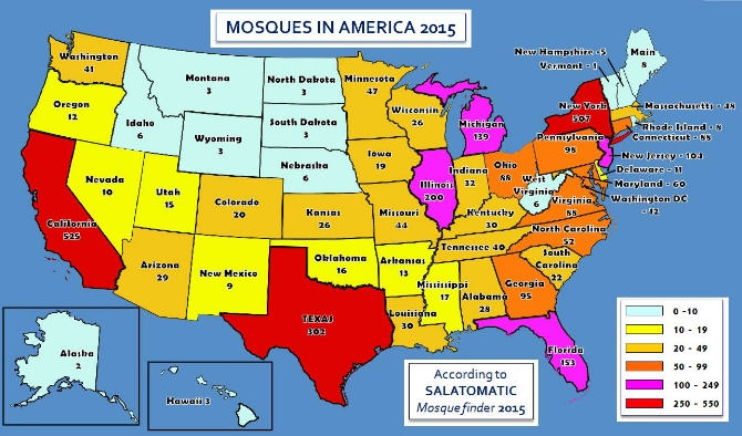 There are now as many as 3,100 mosques in America and nearly 80 percent of them have been opened since the Sept. 11, 2001 terrorist attacks.