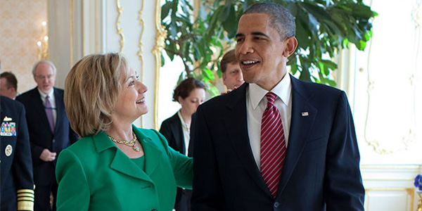 Hillary Clinton and former President Obama (White House photo)