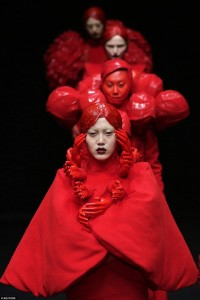 Designer Hu Sheguang displayed models possessed by demons during China Fashion Week in Beijing in March 2016
