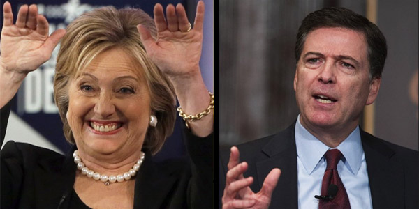 Hillary Clinton and former FBI Director James Comey (Photo: Twitter)