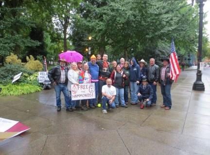 Supporters of Bundys and other defendants in Malheur Refuge case at work in Portland, Oregon. October, 5, 2016