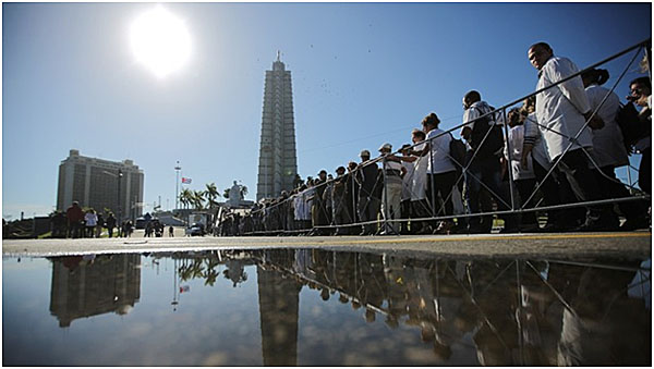 Cubans lining up to enter the Jose Marti, 'star' monument, Revolutionary Square
