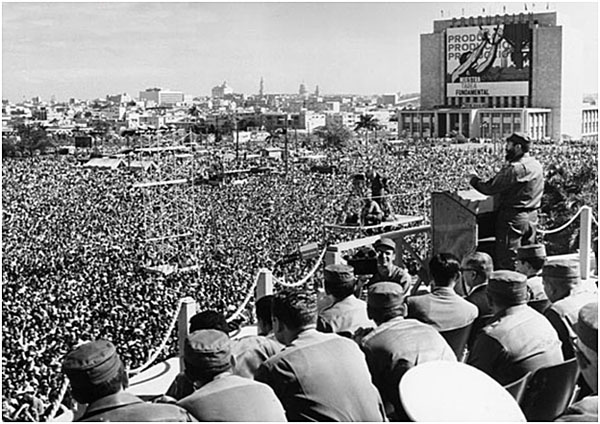 Fidel Castro speaking in Revolutionary Square, 1959, after the revolution