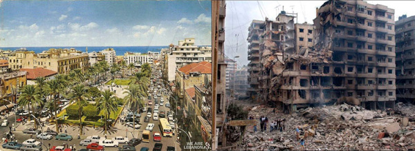Downtown Beirut before and after PLO and Islamic militant invasion
