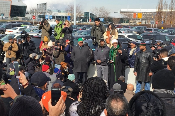 A protest rally against President Trump's so-called 'Muslim ban' Friday, Feb. 3, 2017, at JFK Airport in New York.