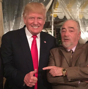 President Trump and Michael Savage at the president's Mar-a-Lago Club in Florida Feb. 18.