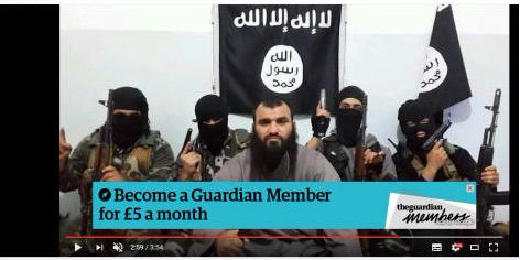 Advertisement for the Guardian newspaper of London on jihadi video