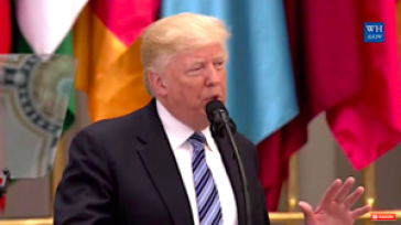 President Donald Trump speaking in Riyadh, Saudi Arabia on May 21, 2017.