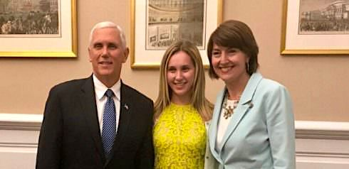 McKenzie Deutsch stands between Vice President Mike Pence and U.S. Rep. Cathy McMorris Rodgers, R-Wash. (Facebook)
