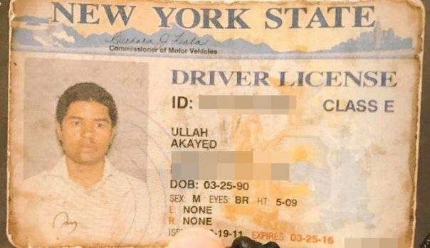 New York driver's license for Akayed Ullah.