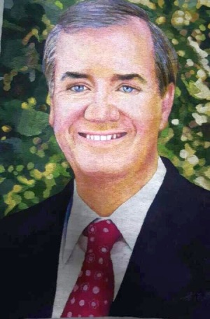 Embroidered portrait of Congressman Ed Royce by anonymous North Korean artists