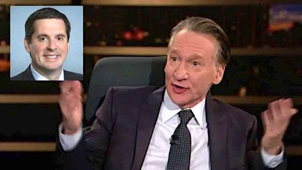 Bill Maher, right, makes fun of Devin Nunes (screenshot)