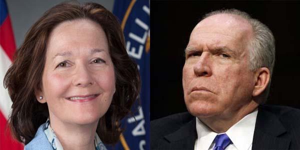 Gina Haspel, deputy CIA director tapped by Trump to be CIA director, and former CIA Director John Brennan