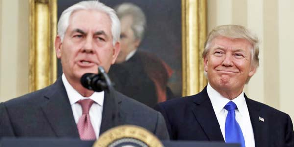 Former Secretary of State Rex Tillerson and President Trump (Photo: Voice of America)