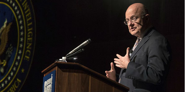 Director of National Intelligence James Clapper speaks at the LBJ Presidential Library Sept. 22, 2016 (Courtesy Jay Godwin, Wikipedia Commons)