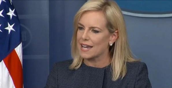 DHS Secretary Kirstjen Nielsen speaks to reporters at the White House June 18, 2018 (Screenshot White House video)