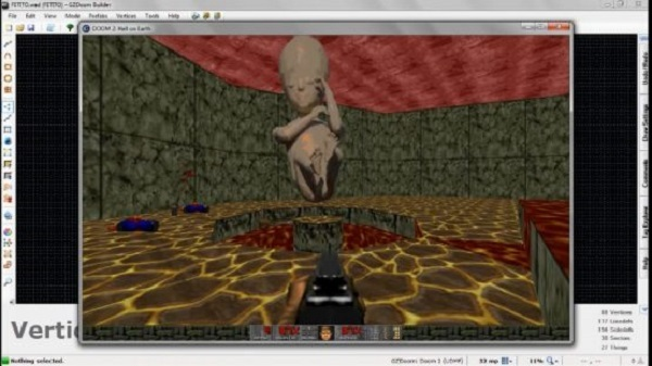 """Screenshot taken from the pro-abortion video game """"Doom Fetito"""" from their Facebook page"""