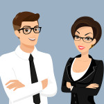 Business man and woman isolated on blue background