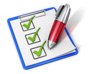 Business office corporate service concept: checklist with green checkmarks on clipboard and red ballpoint pen isolated on white background