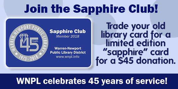 sapphire card, 45th anniversary, library cards, fundraising, the flex