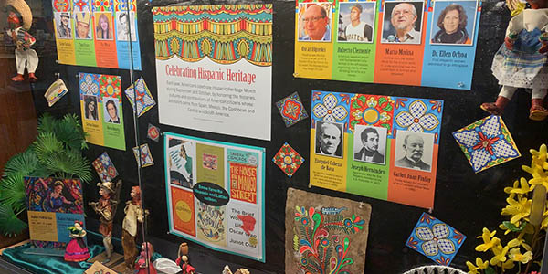 Hispanic Heritage Month, lobby display case, lobby