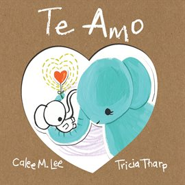 Blue elephant hugs small white elephant in a heart