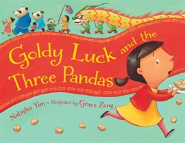 Young girl in yellow dress and red jacket runs away, pandas and chinese dragon on top
