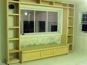 Our nearly finished project - Window Seat Bookcase