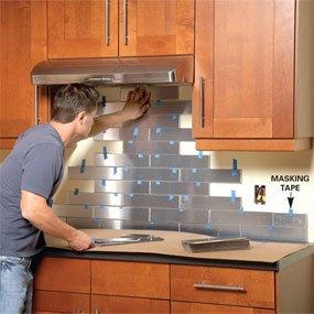 Metal backsplash tile installation