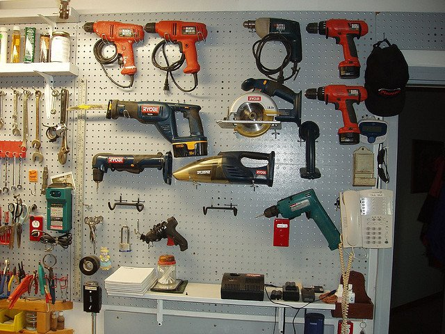 garage power tools pegboard