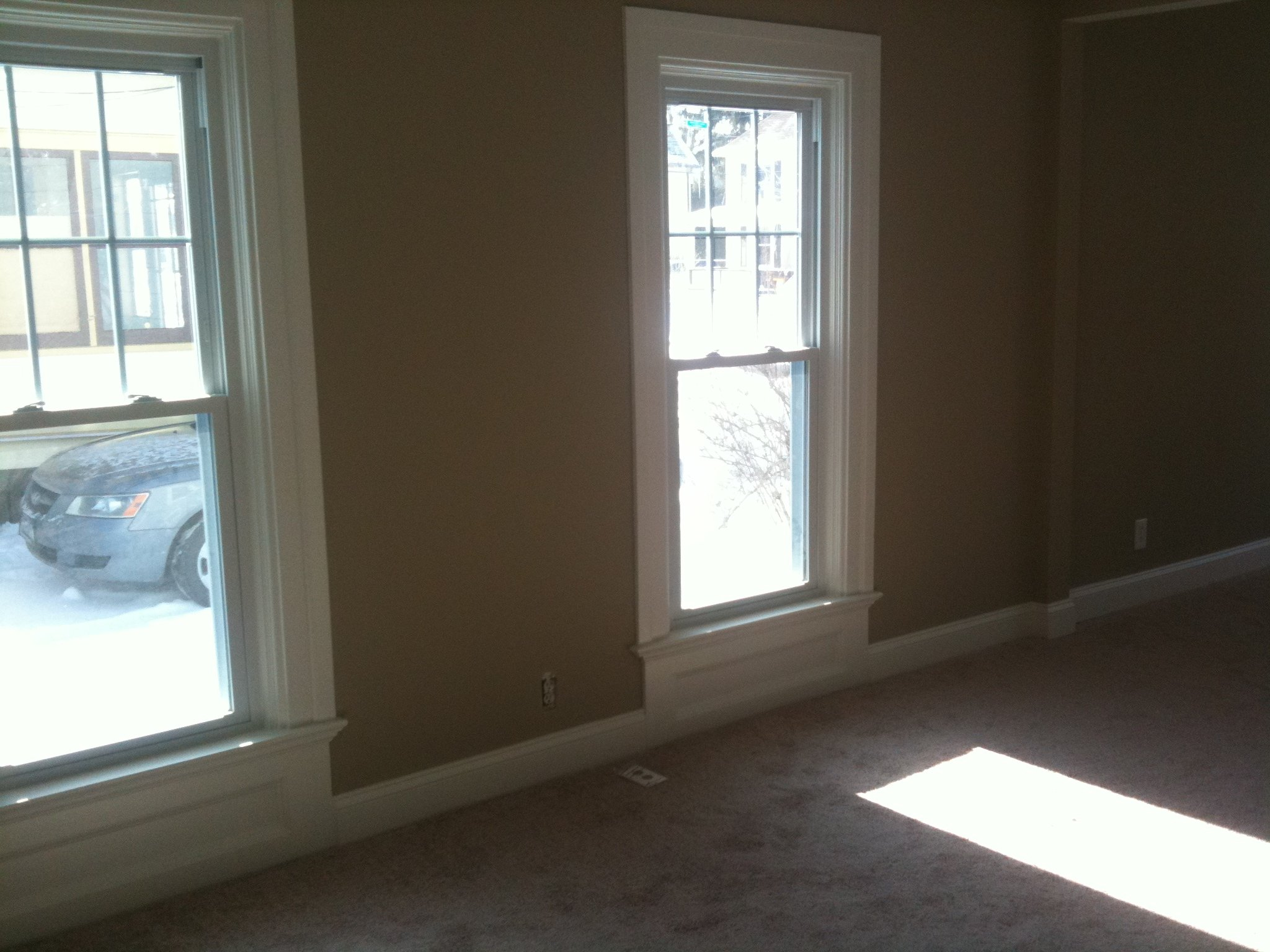 Neutral walls, white trim