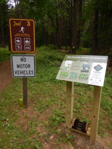 Boot Brush Station placed at trailhead at Letchworth State Park. Photo Credit: WNY PRISM.