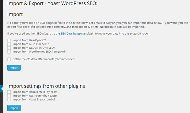 import export wordpress seo