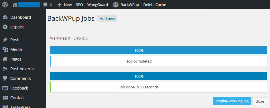 How To Backup Your WordPress Site Using BackWPup - Job Finished