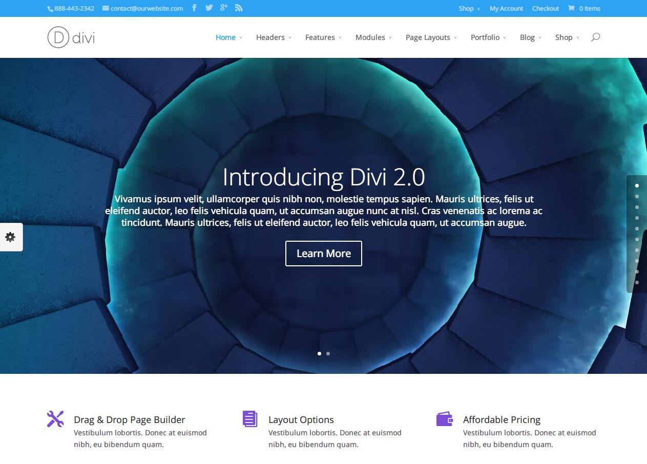 Divi WordPress theme Review Appearance