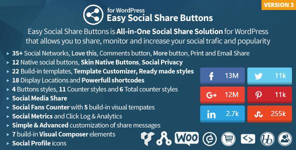 20 Best Social Media Plugins For WordPress Easy Social Share Buttons for WordPress