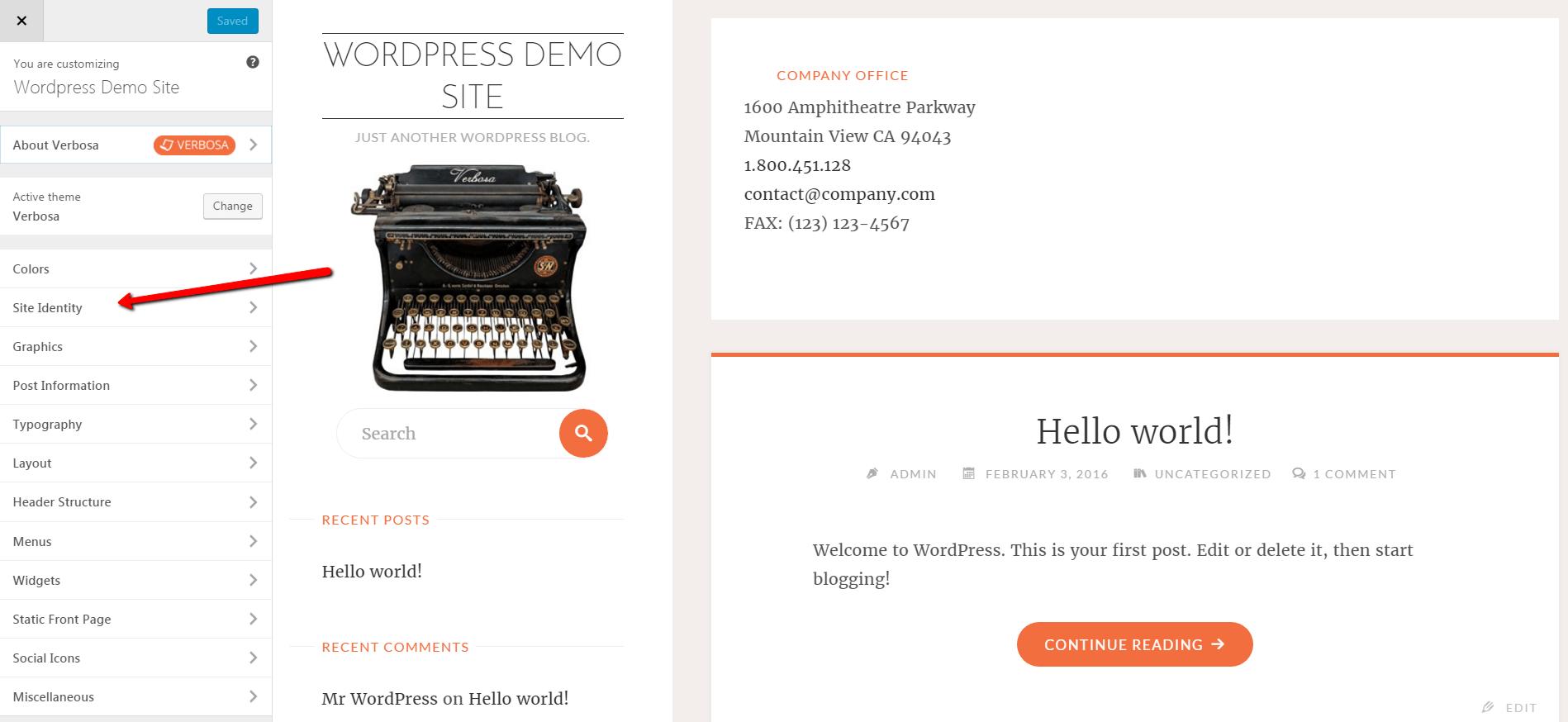 start a blog Theme customizer