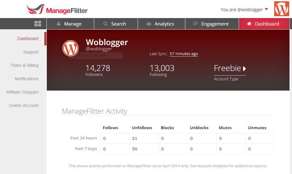 Manageflitter Dashboard unfollow Twitter Tool