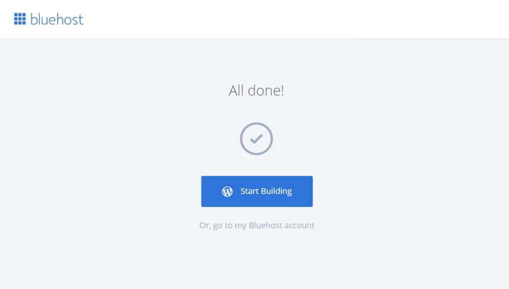 start building wordpress bluehost