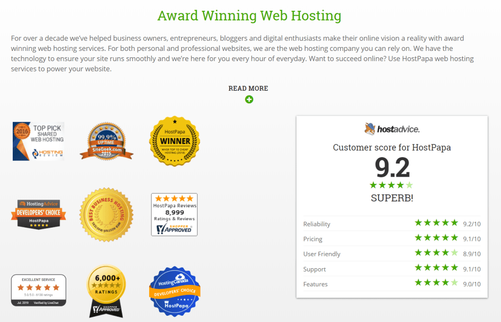 HostPapa award wining web hosting
