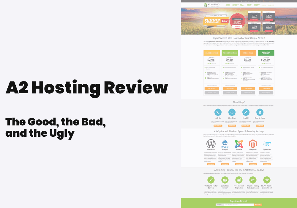 a2 hosting review, hosting features and customer support