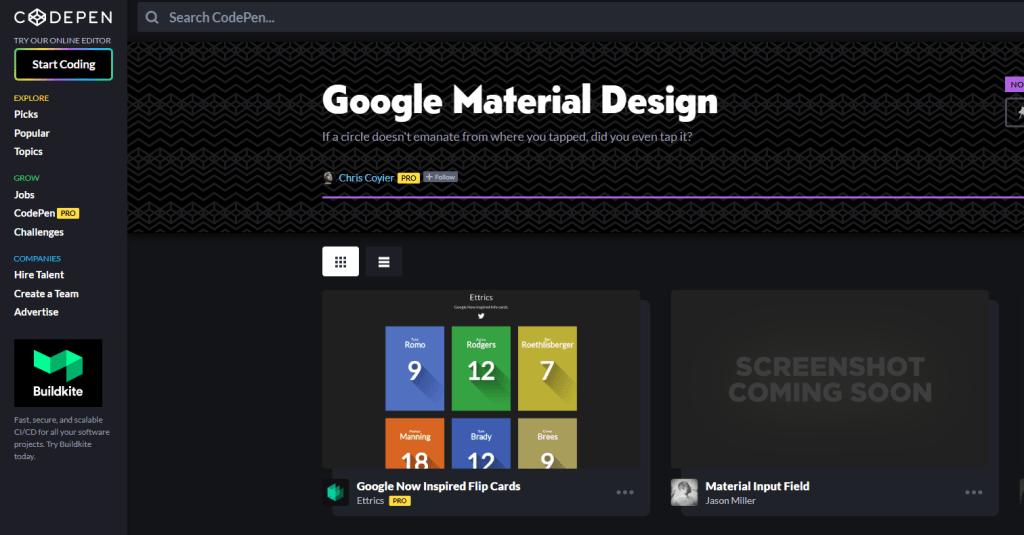 Codepen Google material design