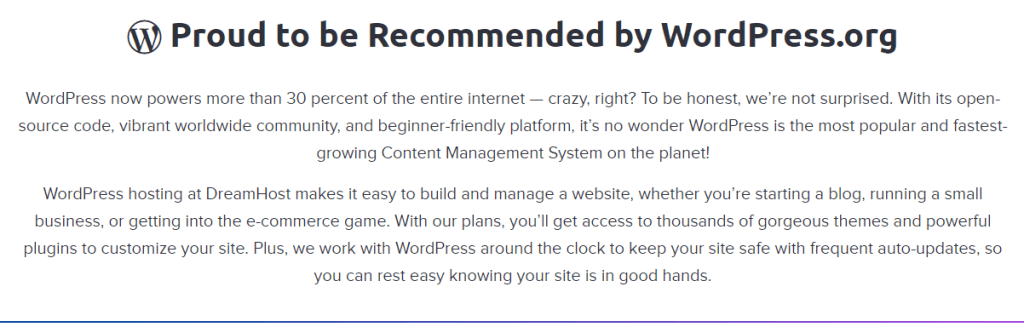 Dreamhost Proud to be Recommended by WordPress