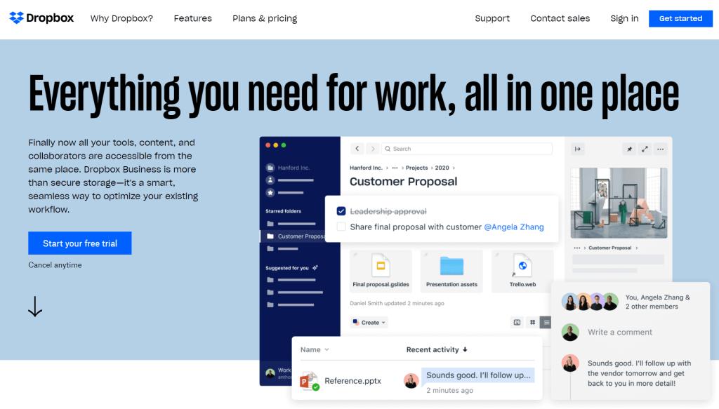 Dropbox Business site