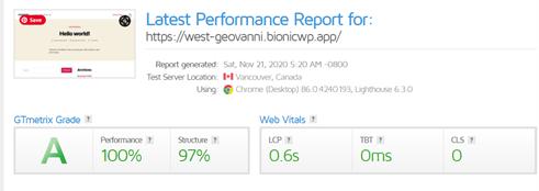 Bionic WP GTMetrix Speed Testing