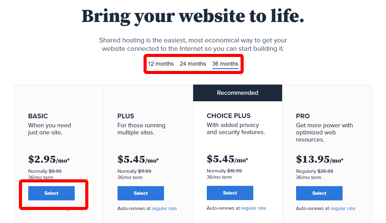 Bluehost promo code select plans